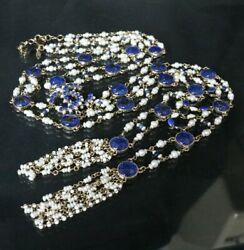 Long Pearl Necklace Cc Mark P19 Blue Gripoix Glass 10240 From Japan