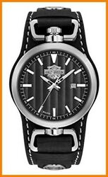 Harley-davidson Menand039s B And S Rotating Case Cuff Watch Black Leather Strap 76b185