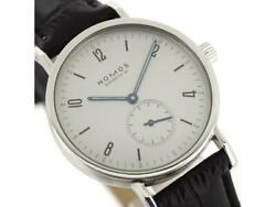 Nomos Tangent 1152 Manual Men's Watch Silver Dial Round Ss Leather Belt