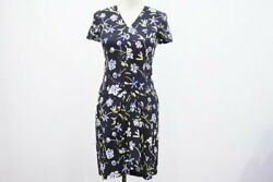 Used Vintage Floral Dress Black Blue White Flower Silk 38 Womenand039s Rcp