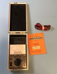 Simpson 160 Analog Multimeter W/ Hard Shell Case, Test Leads And Manual