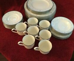 Vintage Noritake Bone China Evermore 9735 Salad And Dinner Plates Cup And Saucers