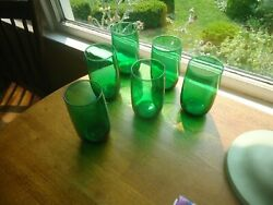 6 Forest Green Anchor Hocking Glasses - Glassware Vintage 5andrdquo Tall
