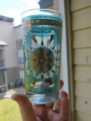 6 Gold Medallion Turquoise Glasses Continental Can Company Culver Georges Briard