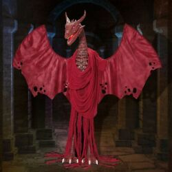 Giant Life Size Animated Red Dragon With Flapping Wings And Sound Halloween Prop