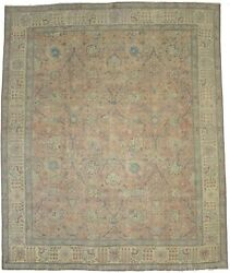 Antique Distressed Wool Handmade 10x12 Floral Classic Oriental Muted Rug Carpet