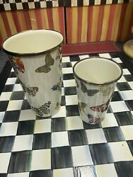 Mackenzie Childs Butterfly Garden Set Of 2 Tumblers Vases 10 And 20 Oz Retired