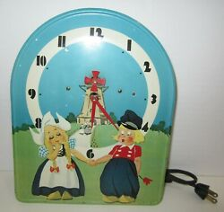 Antique/vintage Colorful Scene Animated Electric Wall Clock Made In Usa