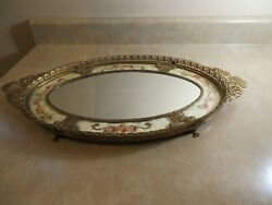 Antique Vintage Oval Ornate Perfume Tray With Mirror And Needle Work Insert