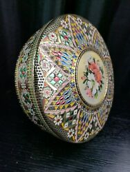 Beautiful Vintage Round Embossed Decorative Metal Tin - Made In Holland -8.25