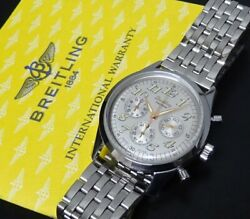 Breitling Automatic Men Navitimer Premier Chronograph A40035 Silver Dial Watch T