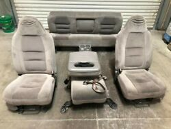 01 Ford F250 Super Duty Crew Cab Used Front And Rear Manual Cloth Seats W Console