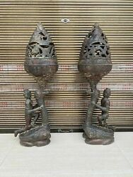 Pair 37 And039and039 Old Bronze Ware Handcarved Ancient Times Kneel Down Slave Censer