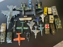 Military Airplanes And Tanks And Jeeps Matchbox Toy Lot See Pics