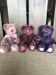Three Purple Russ Berrie Teddy Bears. Collectible. Mint Condition