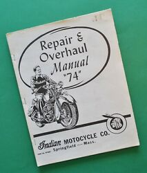 Vintage 1930and039s - 40and039s Indian Chief 74 Motorcycle Restoration Service Manual Book