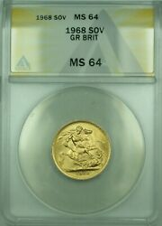 1968 Great Britain Sovereign Gold Coin Anacs Ms-64
