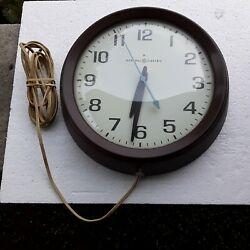 General Electric Vintage 2008a Wall Clock 8glass Face Plastic Housing 1950-60s