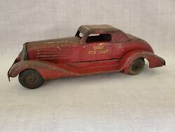 1930's Marx Pressed Steel Windup Red Siren Fire Chief Toy Car 14.5