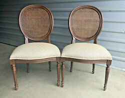 Mint Ethan Allen Chrystiane Cane Back Side Dining Accent Chairs, Set Of Two