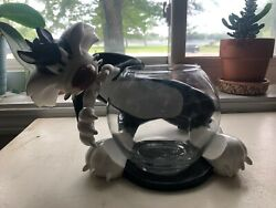 Rare Looney Toons Sylvester Glass Beta Fish Bowl By Acme Pet Shop 6 Bowl