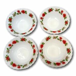 Indopal Poinsettia Milk Glass Bowls Lot 4 Christmas Pyrex Floral Indonesia