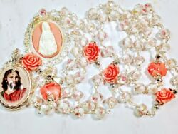Vatican Style Pink Rose Lampwork Diamond Crystal Cream Roses Mary Cameo Rosary