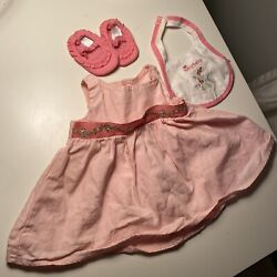 Bitty Baby Doll Starter Set 2008 Collection Dress Shoes Bib Pink American Girl