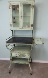 Antique Medical Pharmacy Cabinet Apothecary Steel On Wheels Keys Local Pickup Ca