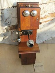 Antique Vintage Stromberg-carlson Walnut Wood Double Box Wall Telephone Parts