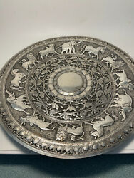 Ornate Sterling Silver Animals And Bird Motif 7 3/4 Round Tray Plate 181g