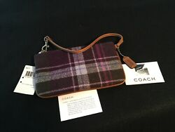 NWT COACH Plum Plaid Tweed Wool Wristlet Leather Trim 8977 FITS MOST CELL PHONES $38.00