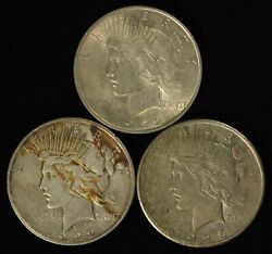 Lot Of 1922, 1922-d And 1925 1 Peace Silver Dollars - Free Shipping Usa