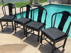Henredon Vintage Black Asian Dining Room 4 Chairs With Rollers Cushions Covers