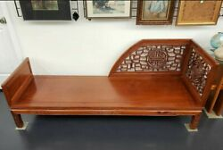 Early 20th Century Chinese Carved Elm Wood Opium Daybed Luohan Bed