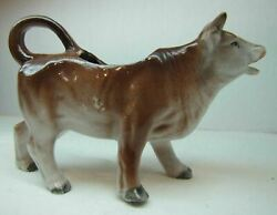 Antique Porcelain Cow Farm Milk Creamer Brown And White Small Nicely Detailed