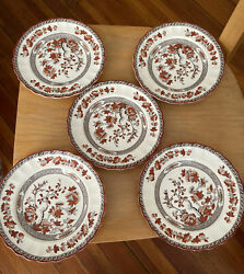 Vintage Copeland Spode India Tree Set Of 5 Bread And Butter Plates