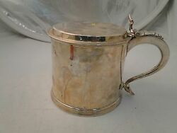 Silver Plated Tankard/ Stein/ Beer Mug Large Size English 1900 Marked Great Item