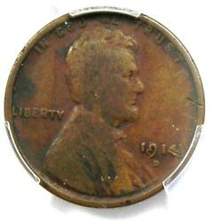 1914-d Lincoln Wheat Cent 1c - Certified Pcgs Fine Detail - Rare Key Date Penny