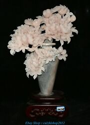22.8 Old China Natural Xiu Pink Jade Carving Peony Flower Bottle Vase Statue