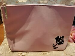 LANCOME PINK COSMETIC BAG FAUX SUEDE SUPER SOFT PINK WITH BLACK ROSE MEDIUM NEW $9.99