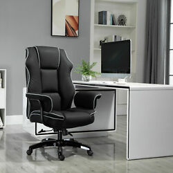 Black Vinsetto Piped Pu Leather Padded High-back Computer Office Gaming Chair