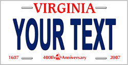 Virginia Personalized License Plate Novelty Automobile Accessory 12 X 6