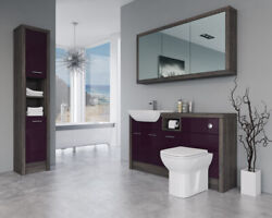 Bathroom Fitted Furniture 1500mm Aubergine Gloss / Mali Wenge D2 With Wall And Tal