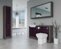 Bathroom Fitted Furniture 1500mm Aubergine Gloss / Mali Wenge D1 With Wall And Tal