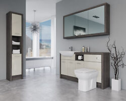 Bathroom Fitted Furniture 1500mm Cream Gloss / Mali Wenge D2 With Wall And Tall Un