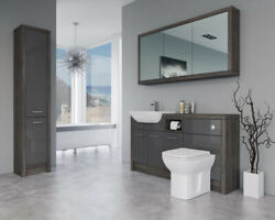 Bathroom Fitted Furniture 1500mm Dark Grey Gloss / Mali Wenge D1 With Wall And Tal