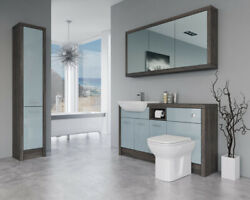 Bathroom Fitted Furniture 1500mm Duck Egg Blue Gloss / Mali Wenge D1 With Wall And