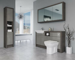 Bathroom Fitted Furniture 1500mm Latte Gloss / Mali Wenge D2 With Wall And Tall Un