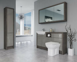 Bathroom Fitted Furniture 1500mm Latte Gloss / Mali Wenge D1 With Wall And Tall Un
